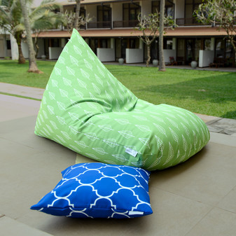 Green waterproof outdoor bean bag cover - Leaves, botanical - Alps