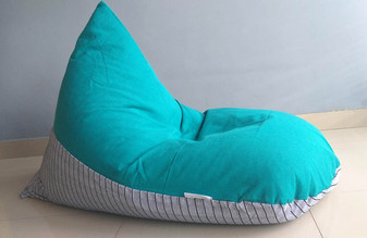 JADE large bean bag chair cover, Emerald/Jade Green, Grey, Cotton handloom