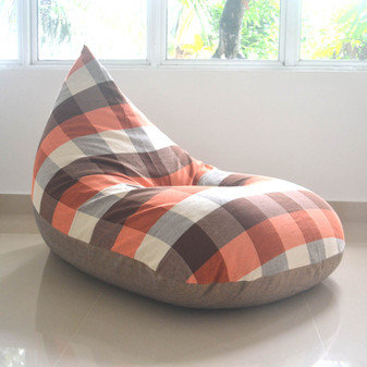 TAPROBANE large bean bag chair cover - brown, beige checked, cotton