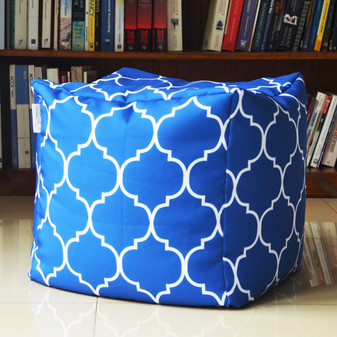 Cobalt Blue in/outdoor pouf / ottoman, waterproof, 16""