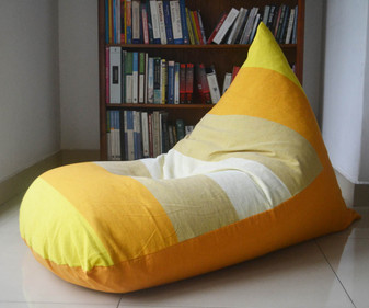 RAYS Large yellow & Orange bean bag cover in handloom cotton