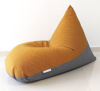 Rio large cotton handloom bean bag chair cover, Orangish - yellow, Grey
