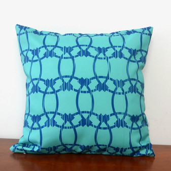 "Barcelona turquoise waterproof outdoor cushion cover 16"" or 18"""