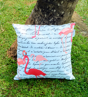 """Flamingo Tales waterproof outdoor cushion cover 16"""" or 18"""""""
