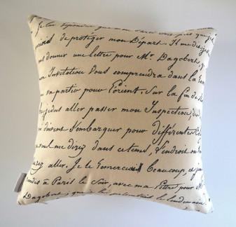 """Odessa""  Vintage Script/Bicycle Cushion Cover Raw Cotton"