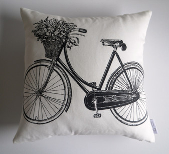 """Odessa"" Bicycle/Script WATERPROOF OUTDOOR Cushion Cover Raw Cotton"