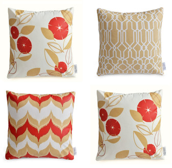 """SAHARA"" Set of 4 Red/Beige Geometric/Floral Cushion Covers 