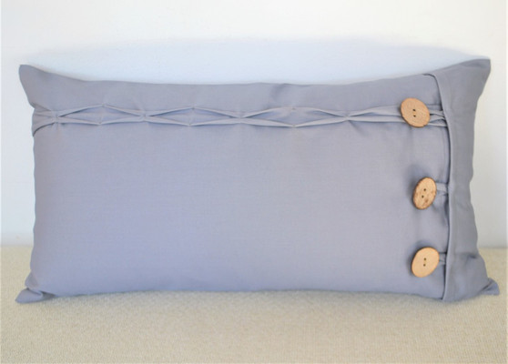 """Grey Oblong / Rectangular Cushion Cover Coconut Shell Button & Loop 12 x 22"""""""