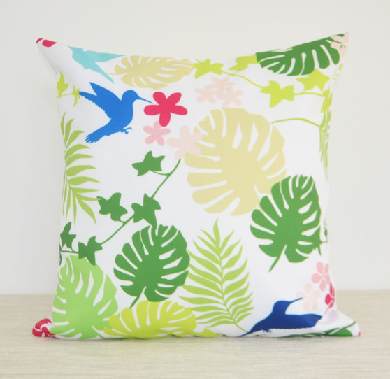 Secret Tropical Garden waterproof indoor/outdoor cushion cover/patio pillow tropical leaves, hummingbirds, nature, botanical