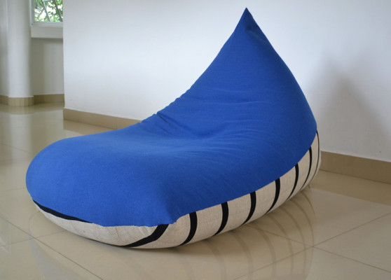 NYLE Large cobalt blue & cream bean bag cover in handloom cotton