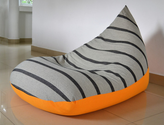 SUNNY-SIDE Large grey & yellow bean bag cover in handloom cotton