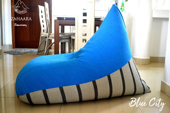 Blue City Large bean bag cover blue & beige, handloom cotton