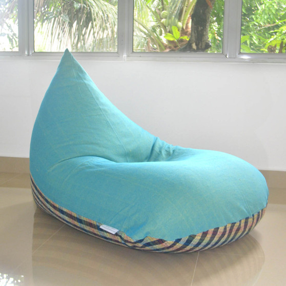Large bean bag chair cover, Turquoise in handloom cotton