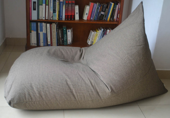 Extra Large grey beige bean bag chair cover in handloom cotton