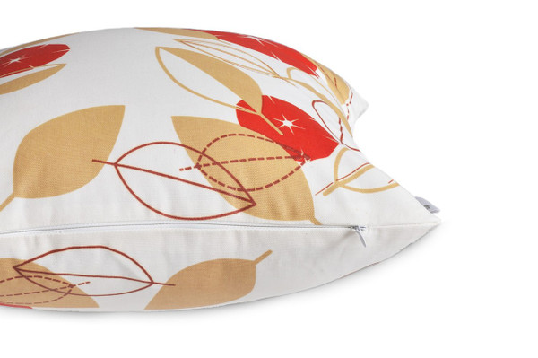 """""""EZRA"""" Red/Beige Floral WATERPROOF OUTDOOR Cushion Cover"""