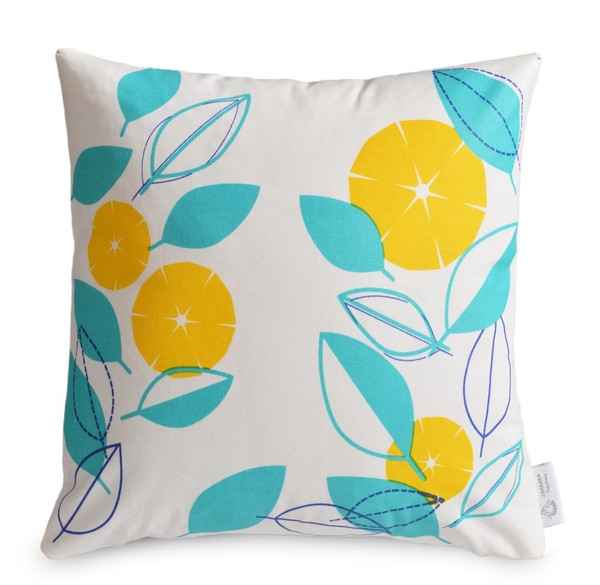 """GREEK AFFAIR"" 4 x Geometric/Floral Cushion Covers Greek Blue/Aqua/Yellow"