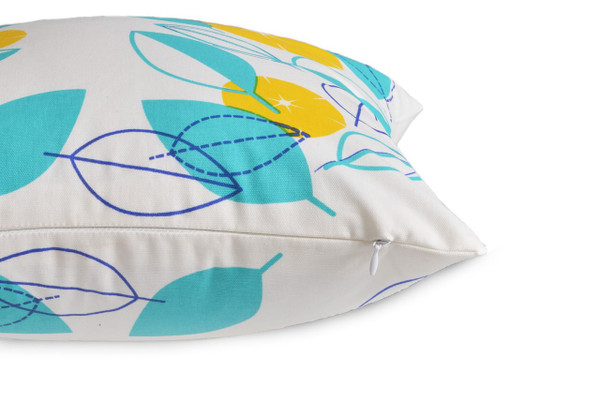 """Dimitri"" Yellow/Aqua Floral WATERPROOF OUTDOOR Cushion Cover"