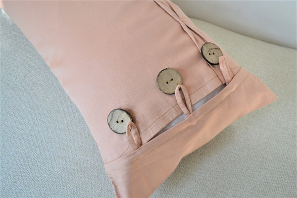 """Blush Pink/Nude Oblong / Rectangular Cushion Cover Button & Loop 12 x 22"""""""