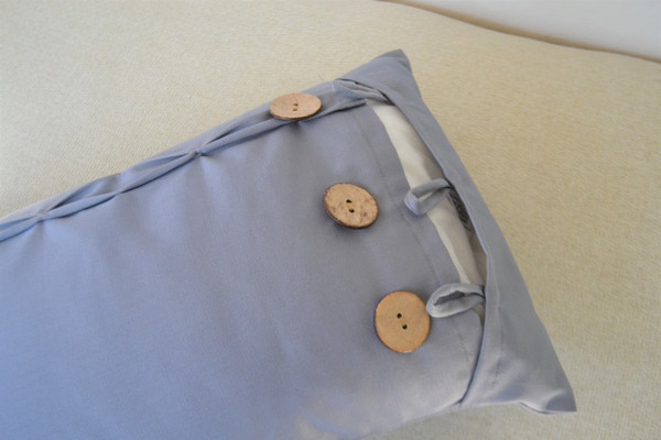 Grey Oblong / Rectangular Cushion Cover Coconut Shell Button & Loop 12 x 22""