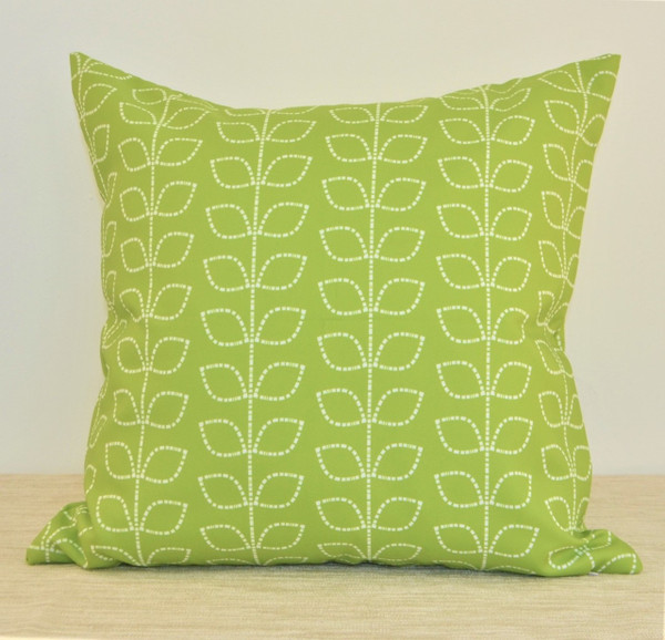 """""""Morning Meadow"""" Green Leaves WATERPROOF OUTDOOR Throw Pillow 18"""" (MORO18)"""