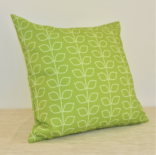 """Morning Meadow"" Green Leaves WATERPROOF OUTDOOR Throw Pillow 18"""