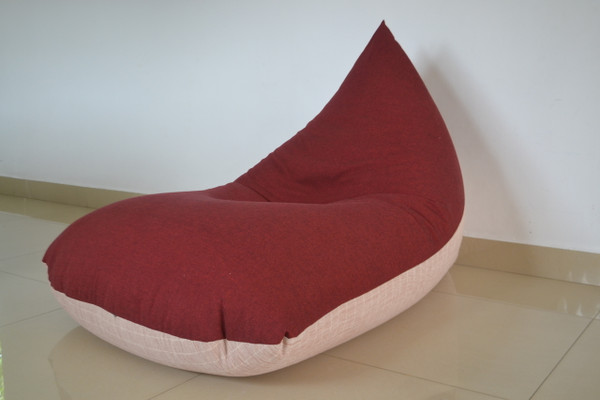 Extra LARGE BEAN BAG Cover, COTTON Handloom, Pale pink, red - brown