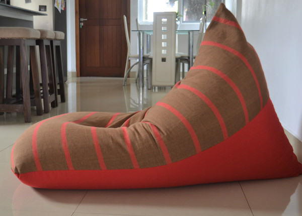 Large BEAN BAG Cover, COTTON Handloom, Red/Pink/Brown