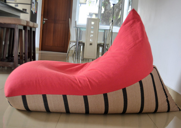 Large BEAN BAG Cover, COTTON Handloom, Hot Pink/Black & Beige