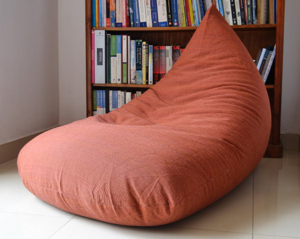 "Large BEAN BAG Cover ""Terracotta"" COTTON Handloom"