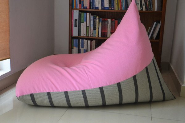 Large BEAN BAG Cover, Baby Pink/Black Stripes, COTTON Handloom