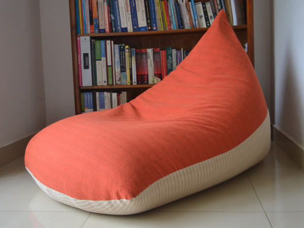 Large BEAN BAG Cover, Coral/Orange/Pink/Cream, COTTON Handloom