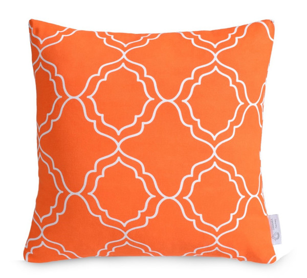 Orange Waterproof Outdoor Geometric Cushion Cover | Bright Outdoor Throw Pillow  | ZAHAARA Sanctuary