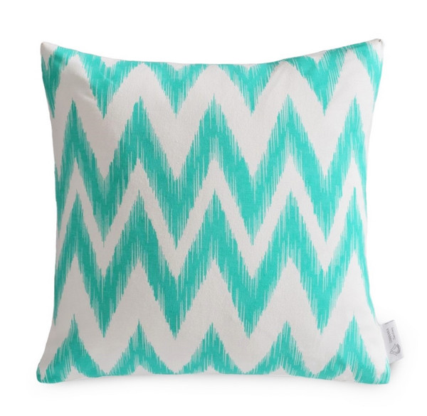 Aqua/Turquoise WATERPROOF OUTDOOR Chevron Cushion Cover | Teal Zig Zag IKAT Patio Pillow | ZAHAARA Sanctuary