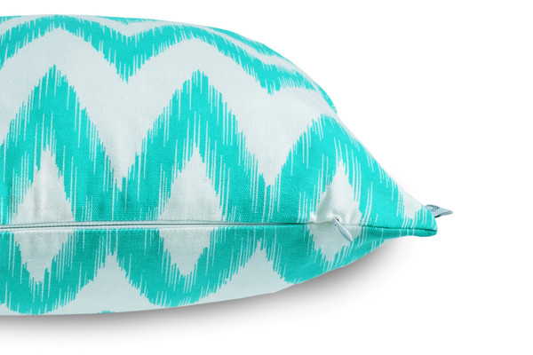 """Kai"" Aqua/Turquoise WATERPROOF OUTDOOR Chevron Cushion Cover"