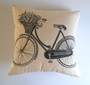 Vintage Bicycle outdoor cushion, Vintage Script outdoor cushion cover, Waterproof Vintage outdoor pillow case, French Provincial Outdoor Cushion