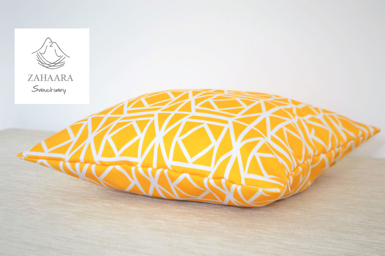 Lemon Yellow Waterproof Outdoor Geometric Cushion Cover Bright