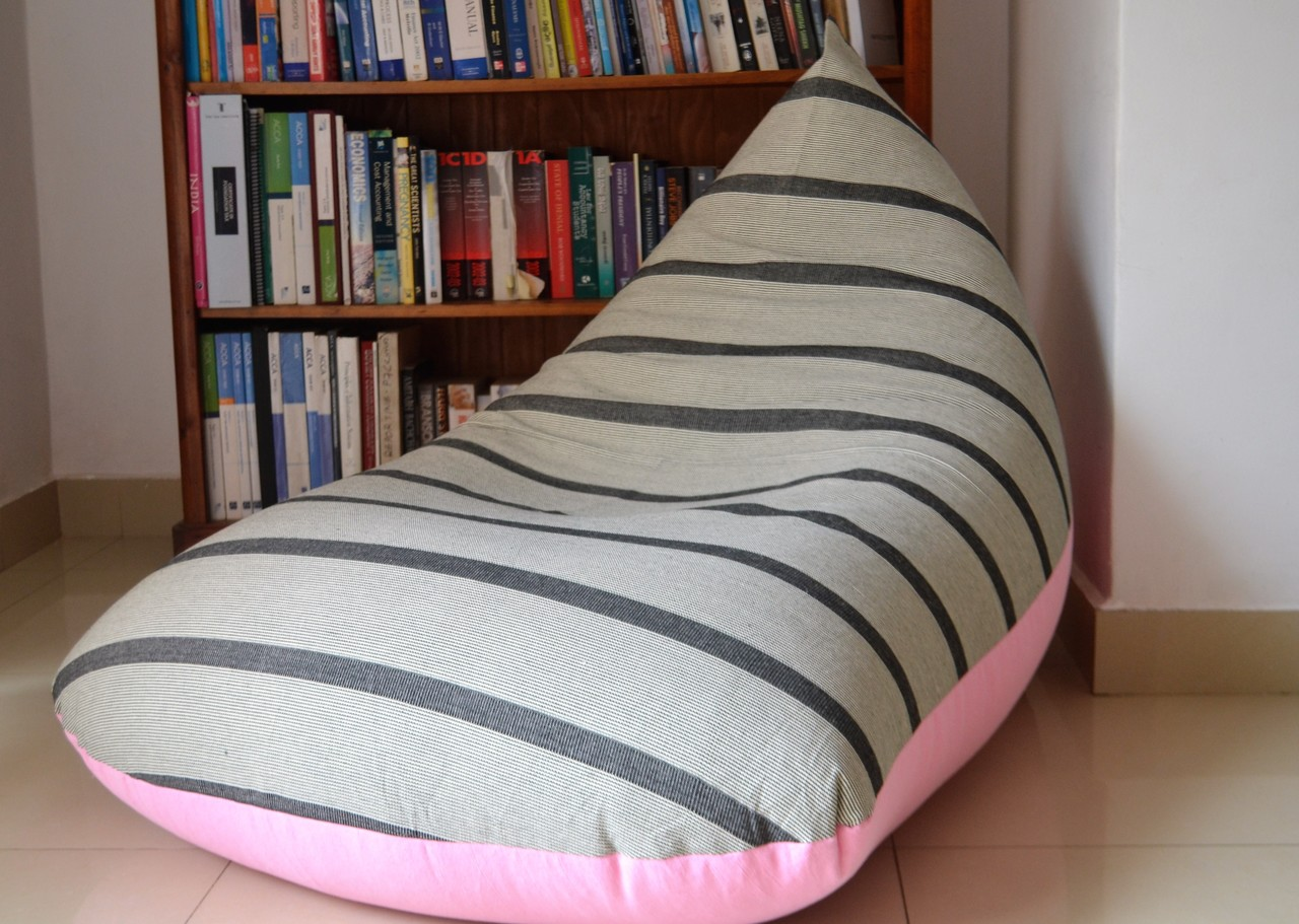 Miraculous Candy Floss Large Baby Pink Grey Bean Bag Cover In Handloom Cotton Caraccident5 Cool Chair Designs And Ideas Caraccident5Info