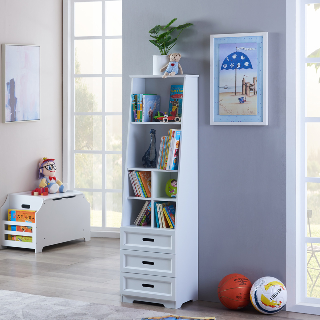 All 4 Kids Candice White Bookcase Book Shelf Storage Unit Joy Baby