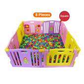 Joy Baby 8 PCs Plastic Playpen With Safety Gate - Purple