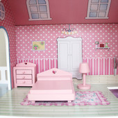 ALL 4 KIDS Euro Dollhouse Bookcase with Furniture