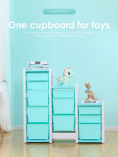 ALL 4 KIDS Kids Room 11 Tubs Bins Storage Unit Toy Box - Blue