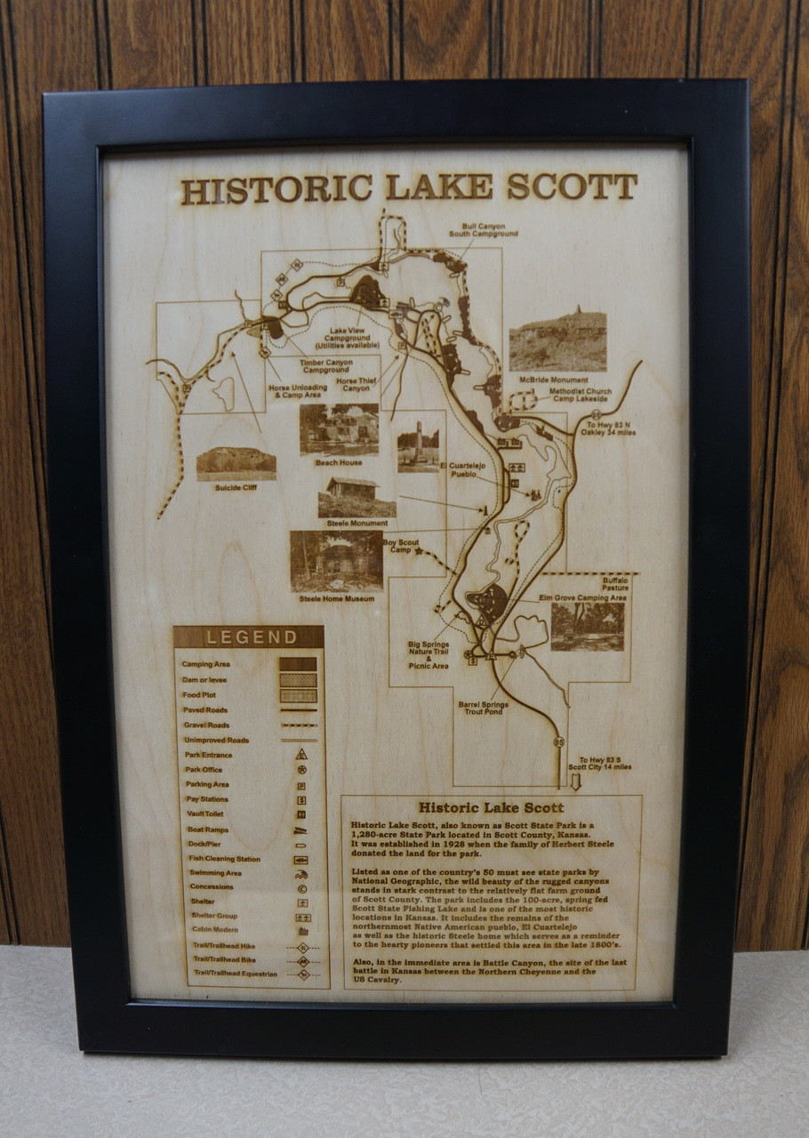 Historic Lake Scott Laser Engraved Map