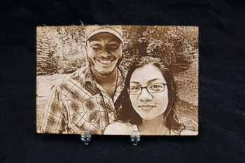 Photo engraved on leather