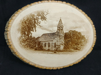 Lost Springs Kansas Church laser engraved on a round Basswood Bark Plaque