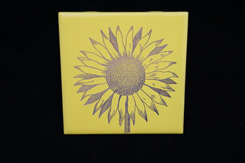Laser Engraved Ceramic Sunflower Tile