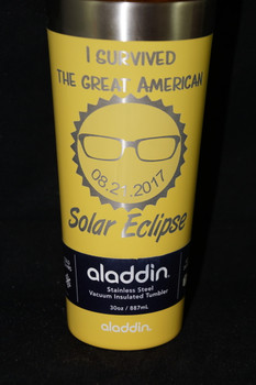 Custom one of a kind Laser Engraved Solar Eclipse memorabilia stainless steel tumbler.