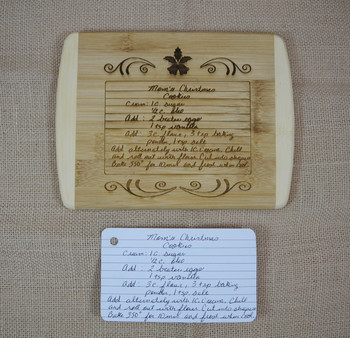 We can create a unique and special keepsake by laser engraving a family recipe, childrens drawing or handwritten poem, letter or saying on multiple different products.
