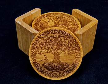 Celtic Tree of Life Bamboo Coaster Set