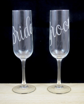 Laser Engraved Bride and Groom Champagne Flutes