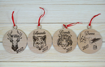 Custom Engraved Alder Christmas Ornaments